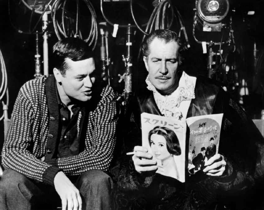 Roger Corman y Vincent Price en el rodaje de House of Usher (1960)
